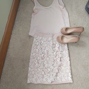 French connection blush lace skirt
